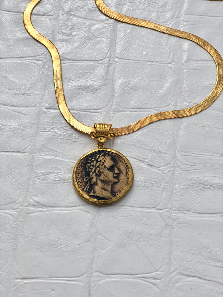 Greek Coin on Snake Chain