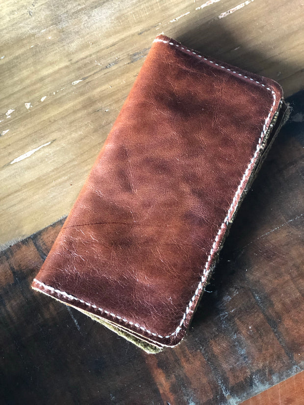 Repurposed leather & WW2 Blanket Wallet