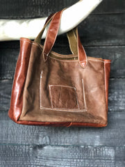 Repurposed leather & WW2 Blanket Purse