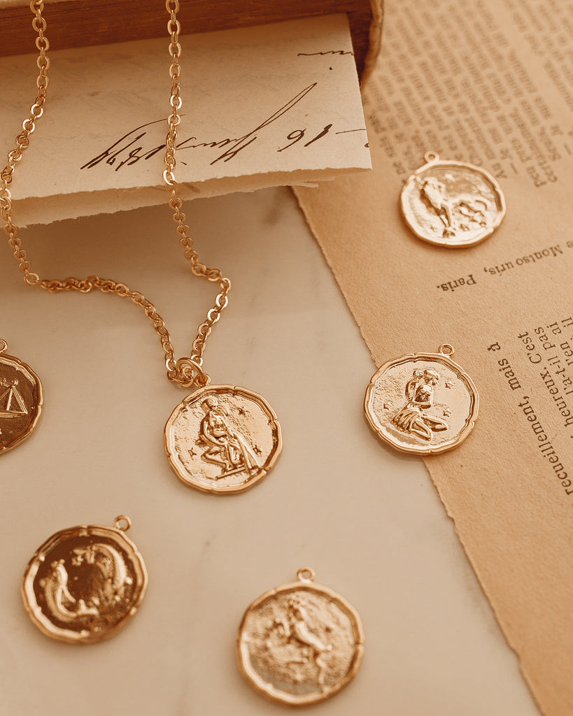 Gold Zodiac Coin Necklace