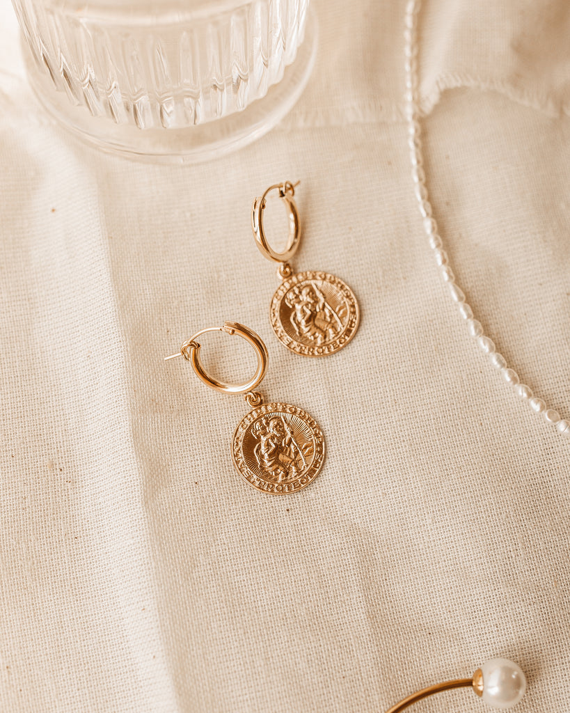 Saint Christopher Coin Earrings