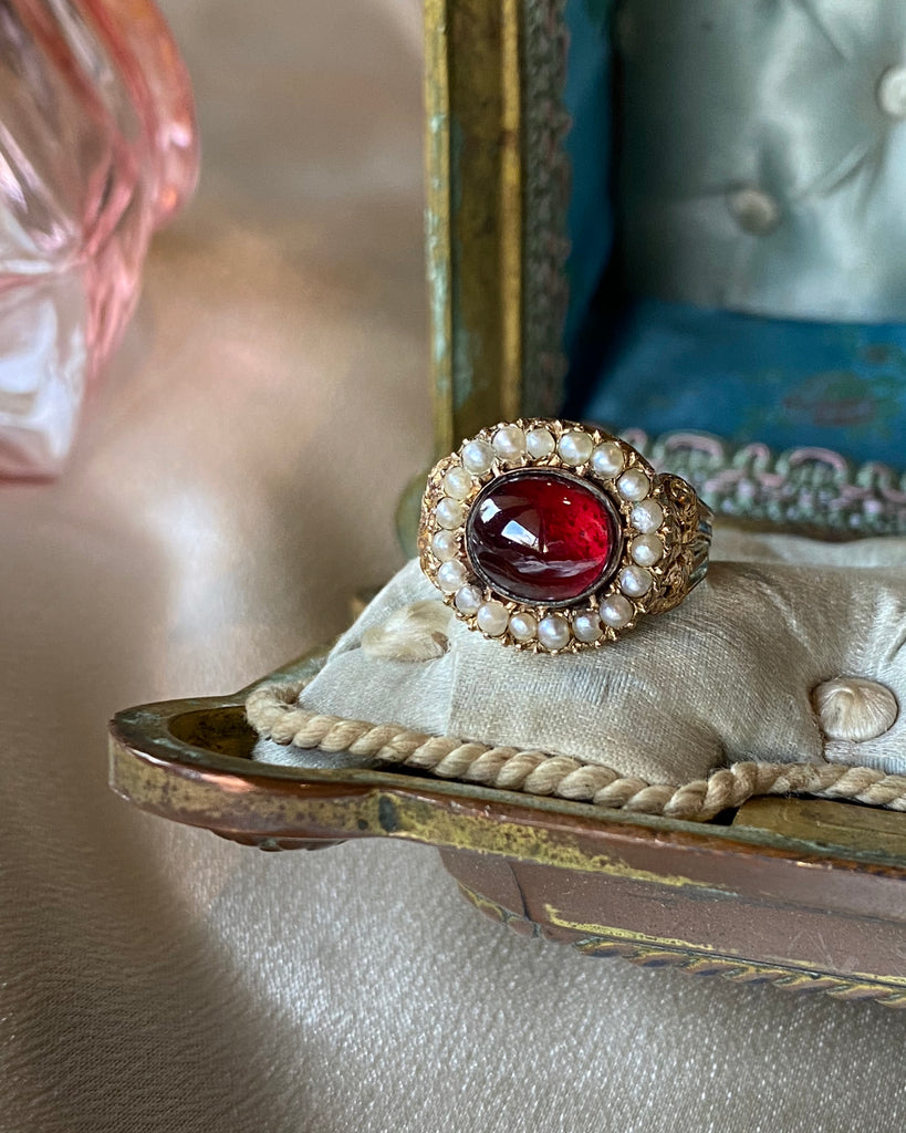 Georgian Garnet Pearl Ring