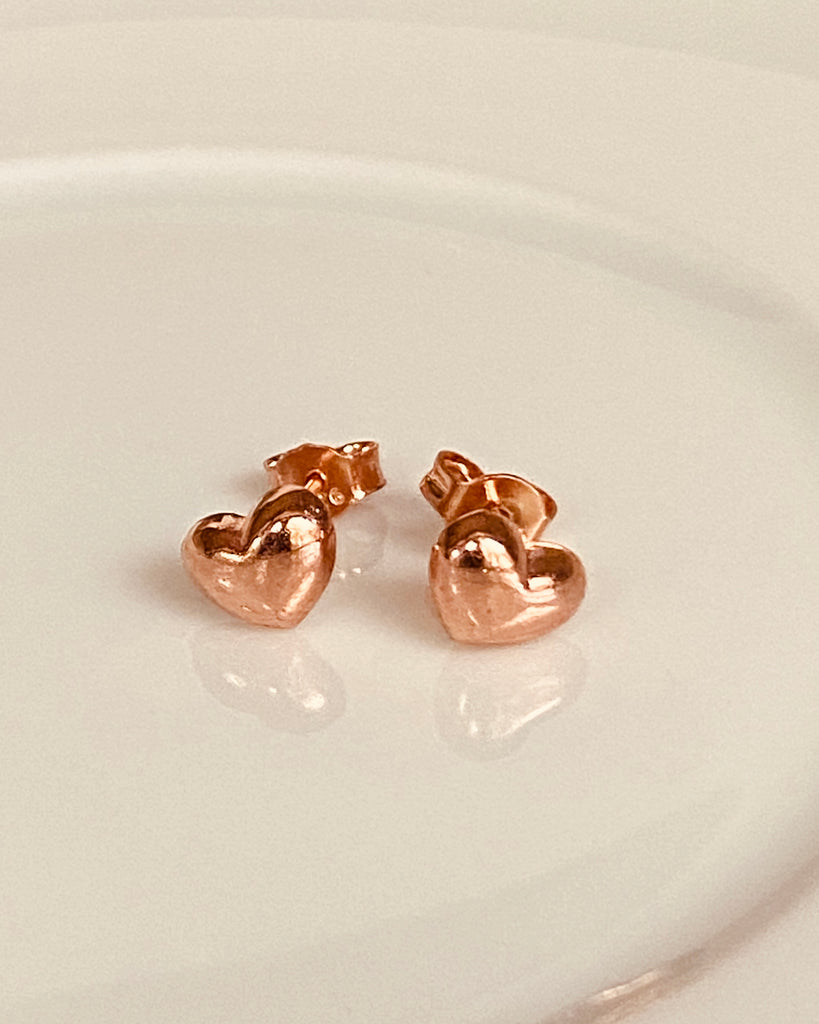 The Tiny Heart Earrings - Rose Gold