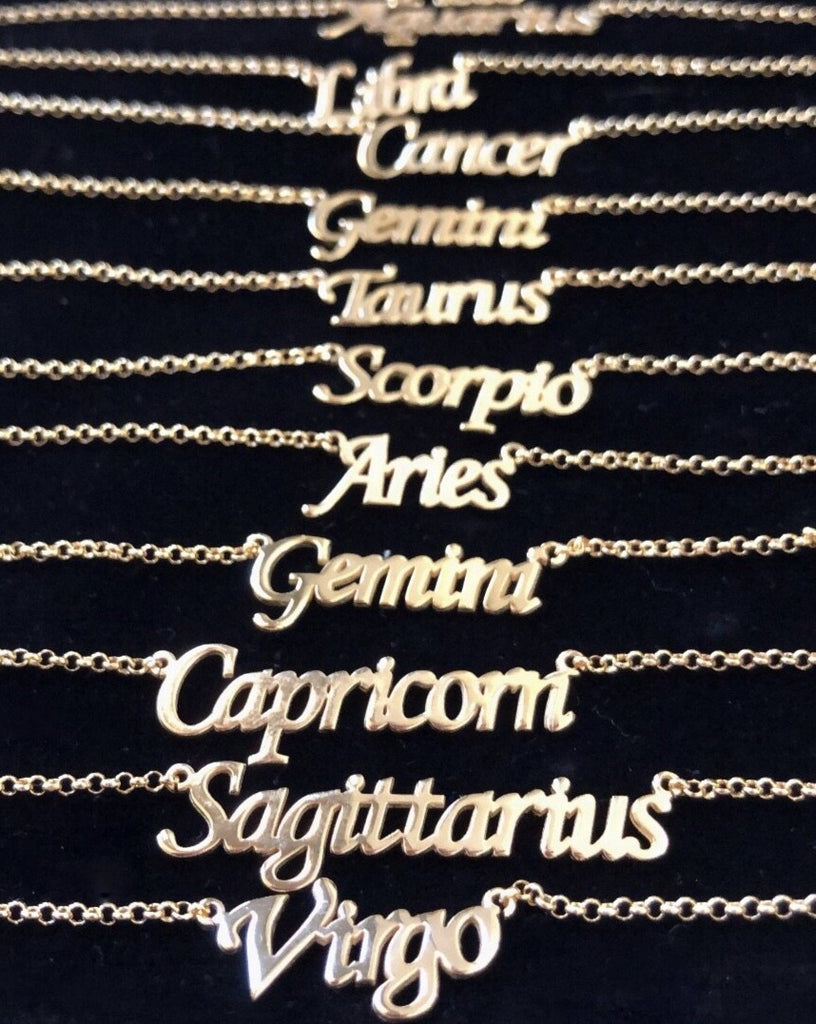 Gold Zodiac Name Plate Necklace