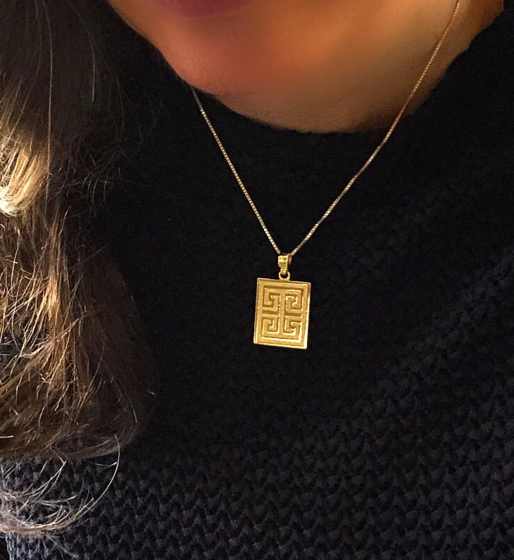Greek Key Necklace - Solid