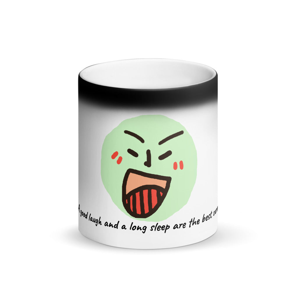 Matte Black Magic Mug-A good laugh and a long sleep are the best cures, by CI'ORIP