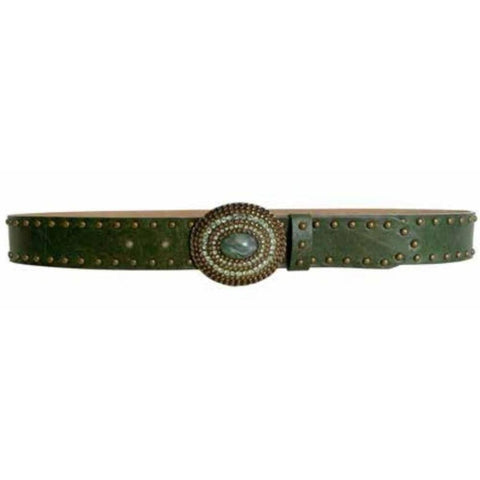 Streets Ahead 1.5 inch Embellished  Belt   Olive Leather Sud