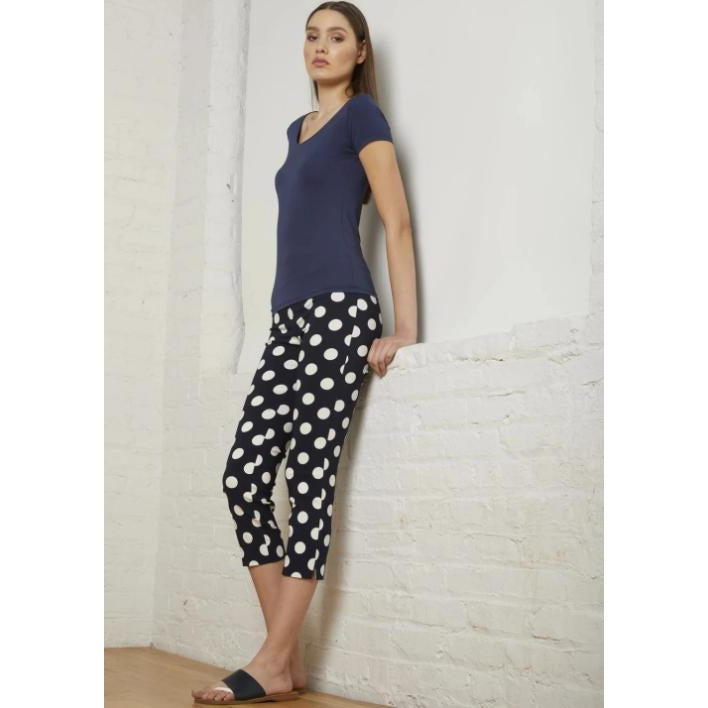 Avenue Montaigne Marilyn Pull On Cropped Polka Dot Pants F1516