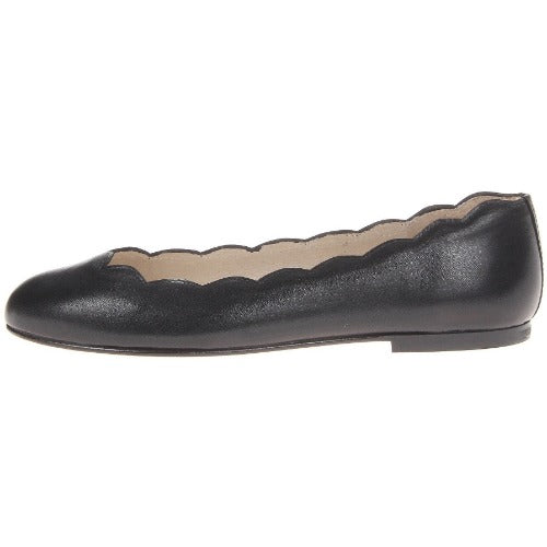 French Sole Jigsaw Leather Flats | Black