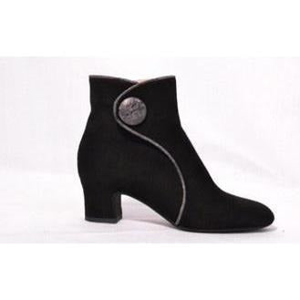 Pas De Rouge Alfa 1879 Button Detailed Ankle Boot Black Suede | Shop All Boots Shoes and Booties by Pas De Rouge |  Receive Free Domestic Shipping With Orders $100 or More
