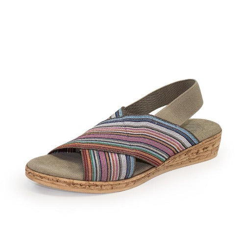 Charleston Shoe Atlantic Stripe Elastic Crisscross Sandal | Pink Multi Stripe