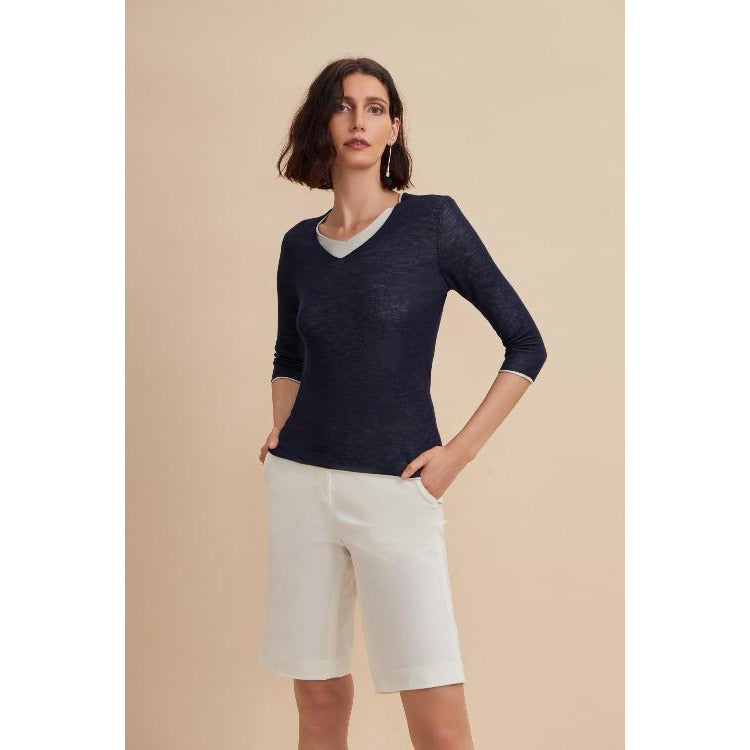W. Cashmere Fine Gauge Double Layer V Neck  | Navy