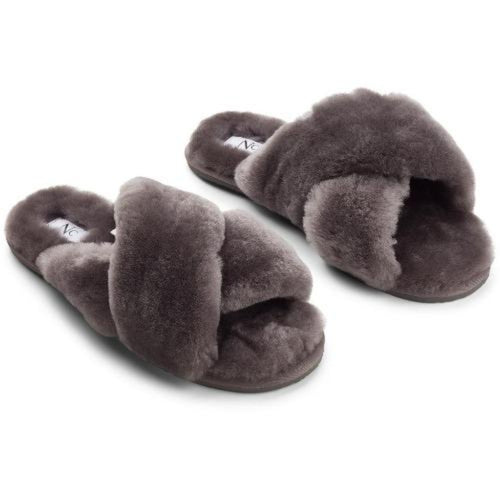 Natures Collection Criss Cross Sheepskin Slippers NCF1049 | Dark Grey
