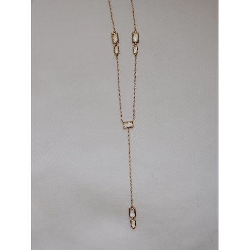 Anzie 14k Gold White Topaz Baguette Y-Necklace  3889W
