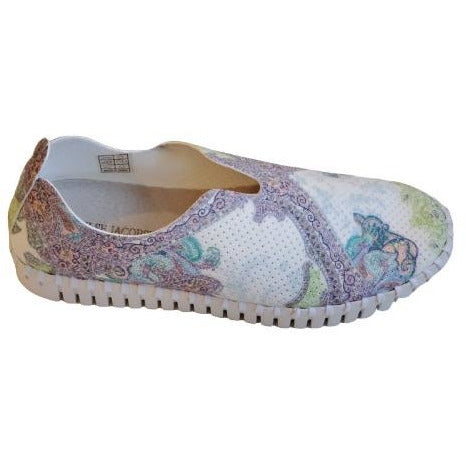 Ilse Jacobsen Hornbæk Tulip 139LEY  Floral Pattern Perforated Slip On Sneakers