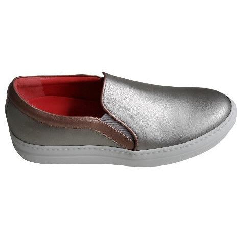 Pas De Rouge Zeila Metallic Leather Slip On 2993 Anthracite | Shop Pas De Rouge Now