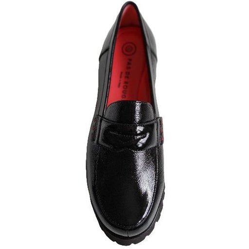 Pas De Rouge Marta Patent Leather Loafer | Nero  Naplak | Shop Italian Made Shoes