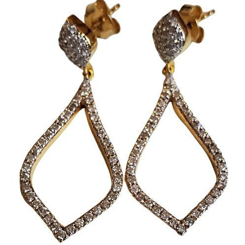 FC Creations 18K Gold Pave Diamond Dangle Earrings