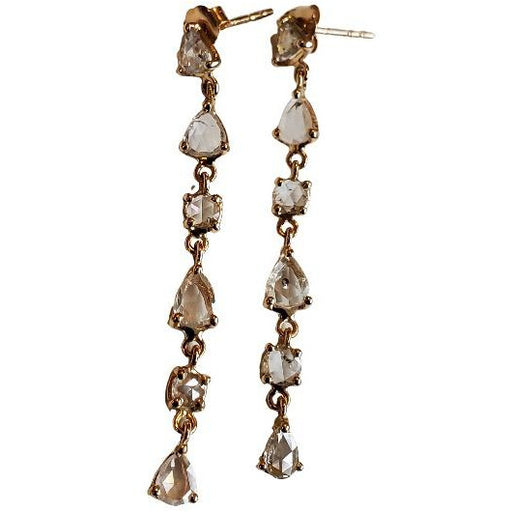FC Creations 14K Gold Long Diamond Earrings