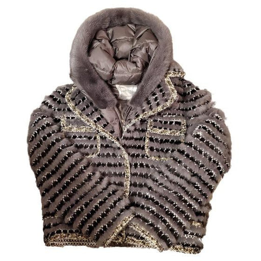 Linda Richards Mink Iridescent Tweed Jacket and Mink Hooded Puffer Vest | Charcoal