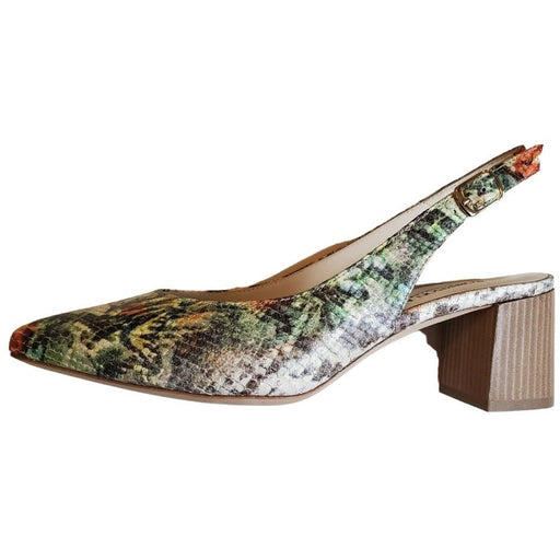 Robertson Madison Louise Printed Leather Mid Heel Pointy Toe Sling 74606