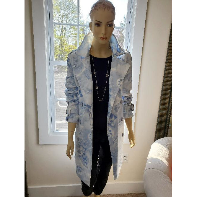 Linda Richards Print Trench Coat 1385PRT | Cloud Blue