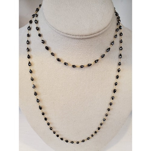 FC Creations 18K Gold Black Diamond Necklace 36""