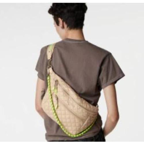 MZ Wallace Crossbody Sling Bag | Sesame and Neon Yellow Rec Extra Small