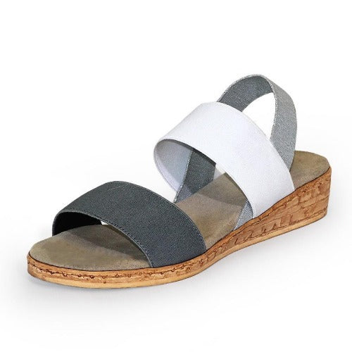 Charleston Shoe Collins Multi Colored Elastic Sandal | Faux Cork Wedge | Grey White Silver