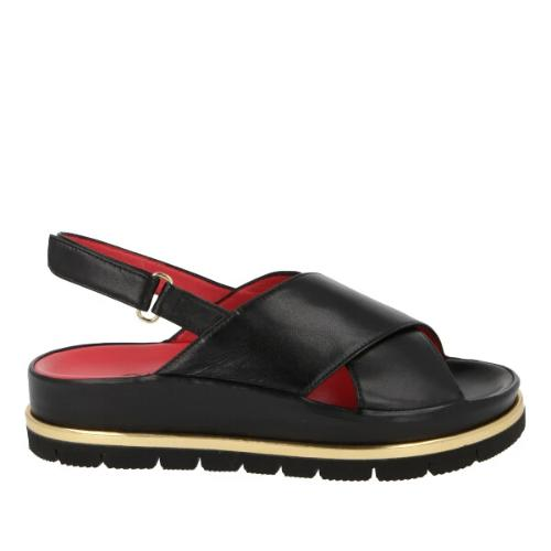 Pas De Rouge Jeanne Leather Platform Sandal 3450 | Black Leather