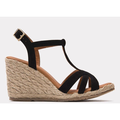 André Assous Madina Espadrille Wedges | Suede T Strap Wedges Made in Spain Black Suede