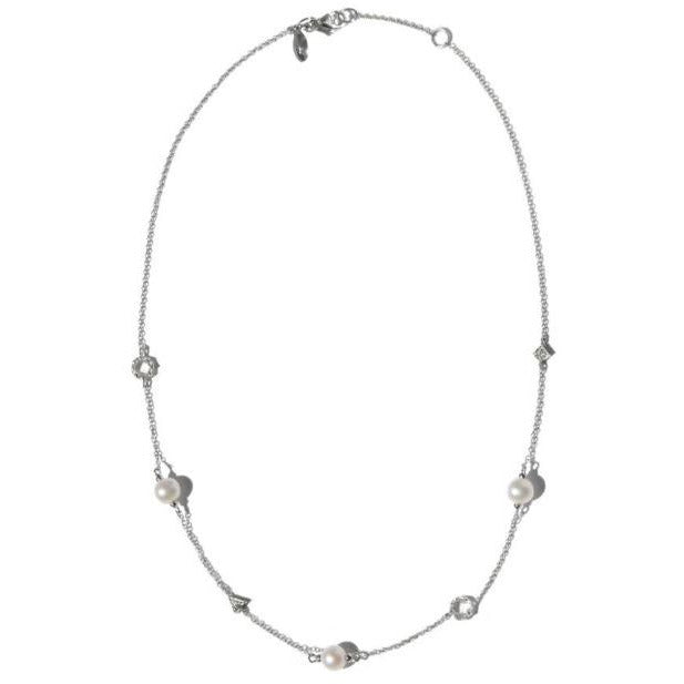 Anzie Geometric Crew Necklace 3883swwp | Fresh Water Pearl & Sapphire