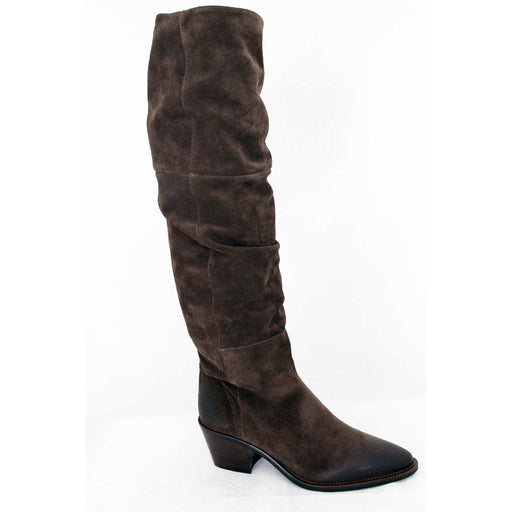 Donna Carolina Ruched Suede Knee High Boots,  Silk Mocha 40100077 | Shop our Donna Carolina Shoes & Boots and enjoy free domestic shipping on all order $100 or more.