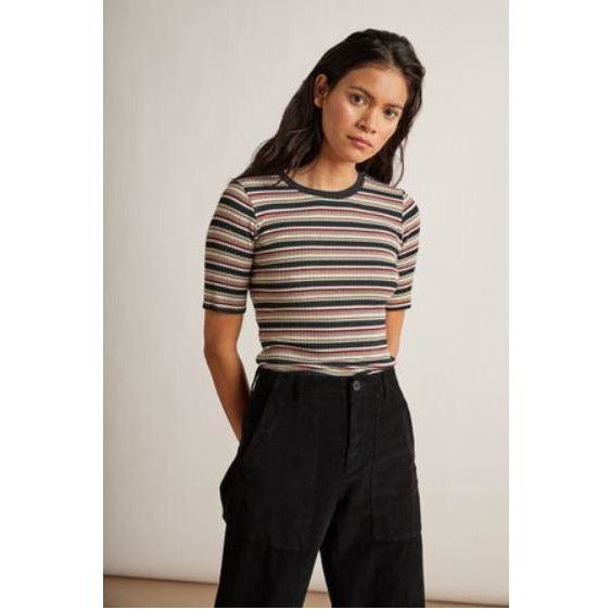 Velvet by Graham & Spencer Shelly Short Sleeve Striped Crew Neck Tee  | Shop Velvet by Graham & Spencer Now and Enjoy Free Domestic Shipping On All Orders $100 or more.