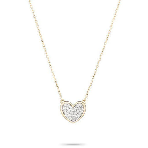 Adina Reyter Jewelry14K Yellow Gold Pavé Folded  Heart Necklace