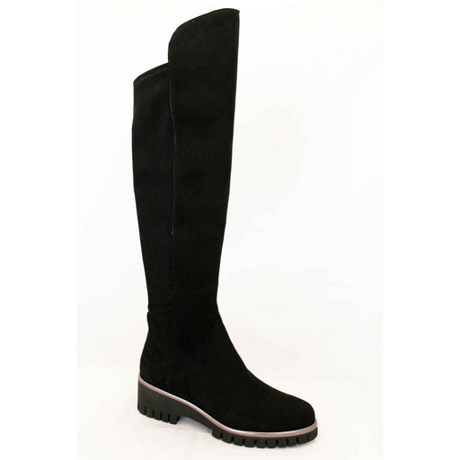 Donna Carolina Zip Back Knee High Nero Suede Boots 40.699.085 | Shop Now