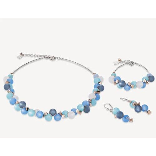 CŒUR de LION Polaris Swarovski® Crystals Stainless Steel Turquoise  Necklace Earrings & Bracelet