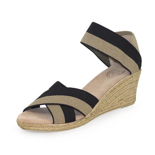Charleston Shoe Company Cannon Two Tone Elastic Sandals | Black/Tan