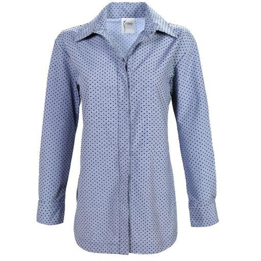 Finley Shirts Boyfriend Flocked Dot Long Sleeve Collared Shirt Blue/Black | Shop Finley Shirts
