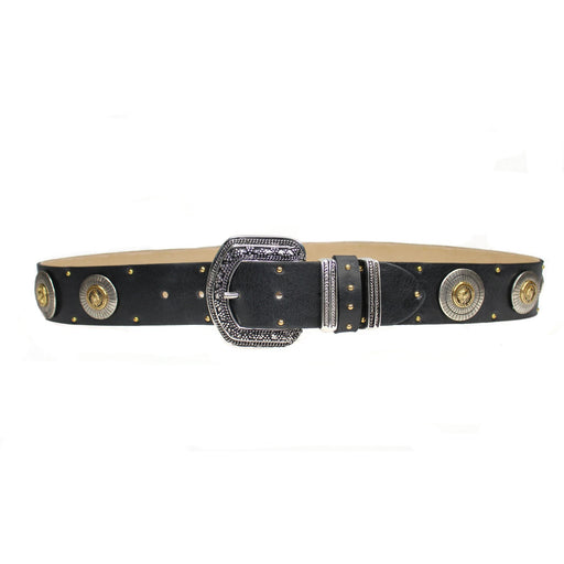 Streets Ahead Chicago Black Leather Embellished Belt  52084 | Black Leather