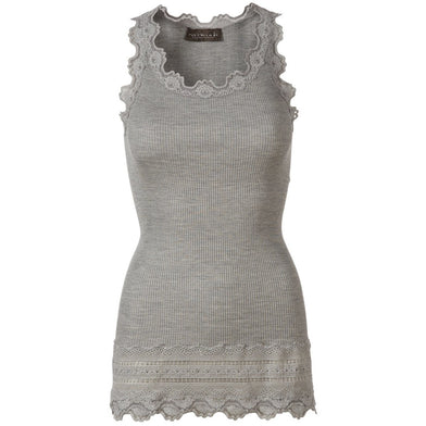 Rosemunde Copenhagen Long Vintage Lace Silk Tank 5315-008 Light Grey | Shop Rosemunde Silk Tops, Tanks, & Tees