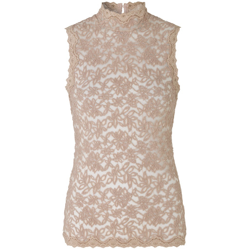 Rosemunde Delicia Lace Sleeveless High Neck Button Back Top 5756 | Vintage Powder