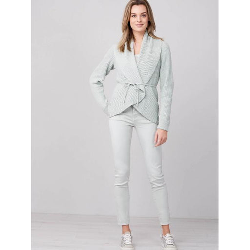 REPEAT Cashmere Shawl Cardigan with Belt 400304 | Jade