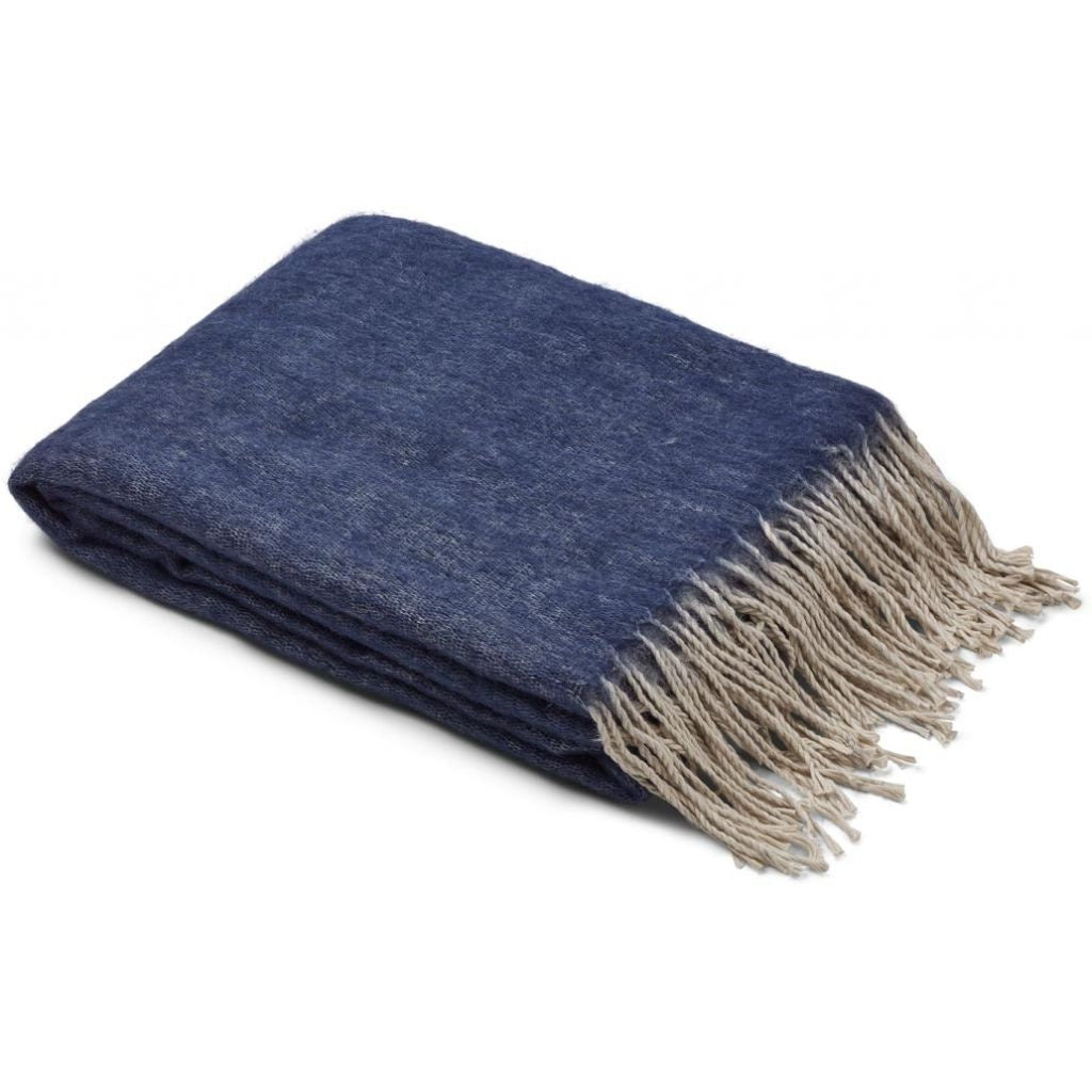 Natures Collection Double Face Wool Blend Throw Blue/Grey