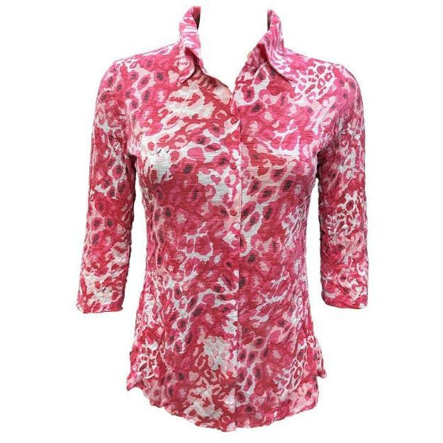 David Cline Crushed Printed Shirt 6603 | Pink