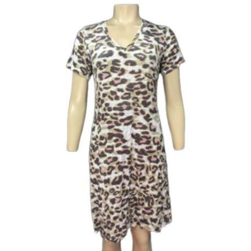 David Cline Crushed Short Sleeve V Neck Dress 6627BX | Cat Print