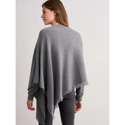 REPEAT Cashmere Asymmetrical Poncho With Fringe