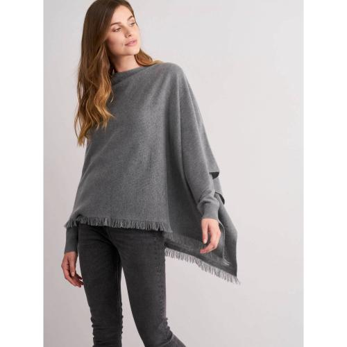REPEAT Cashmere Asymmetrical Poncho With Fringe Mud