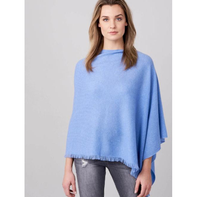 REPEAT Cashmere Asymmetrical Eyelash Fringe Poncho 700001 | Clearance Sale No Return