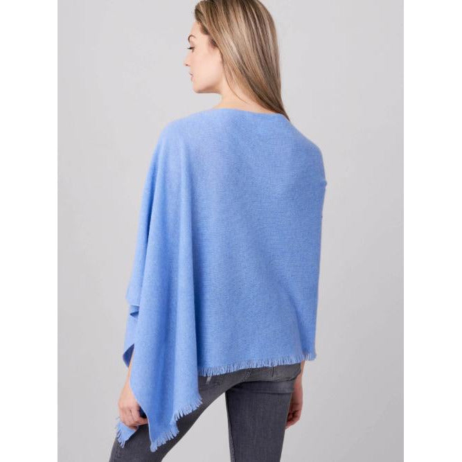REPEAT Cashmere Cashmere Asymmetrical Eyelash Fringe Poncho 700001 | Medium Blue